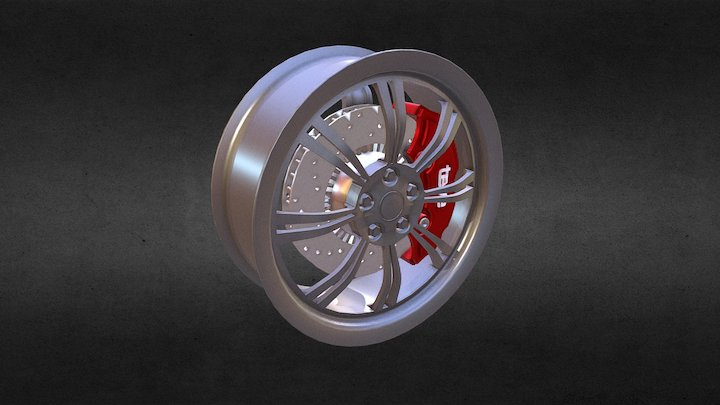 Rim (wheel) with brake disc and caliper 3D Model