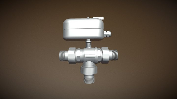 3-way Diverter Zone Control Ball Valve 3D Model
