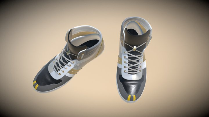 Air_Gold Leather Shoes 3D Model