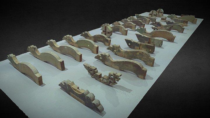 木構造組件_#1。3D面模 3D Model