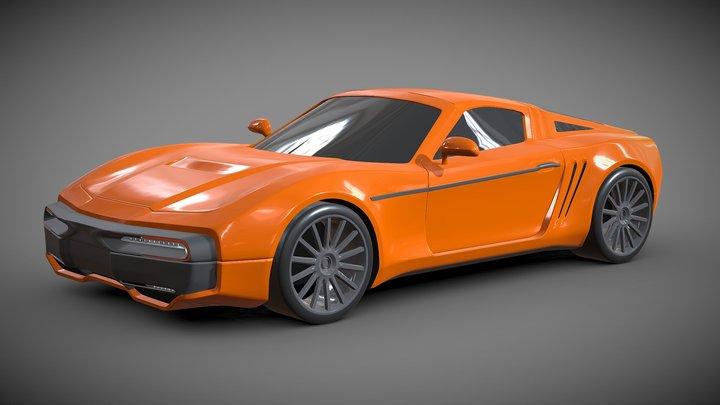 Retrostyled Concept car 3D Model