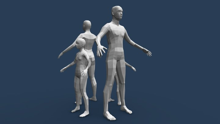 Low Poly Family Base meshes 3D Model