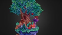 Fox and Chicken Diorama 3D Model