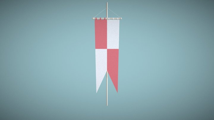 Standing Banner Heraldry Red 3D Model