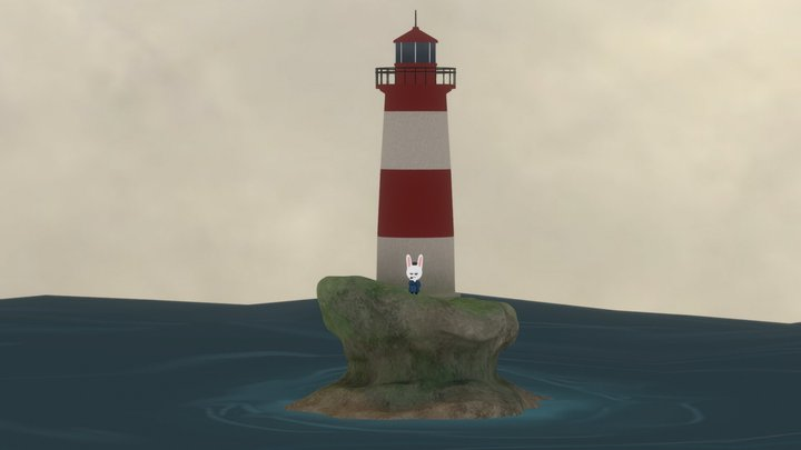 Lighthouse on a Cloudy Day 3D Model