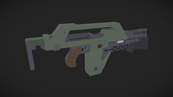 Low Poly Pulse Rifle (Aliens) 3D Model