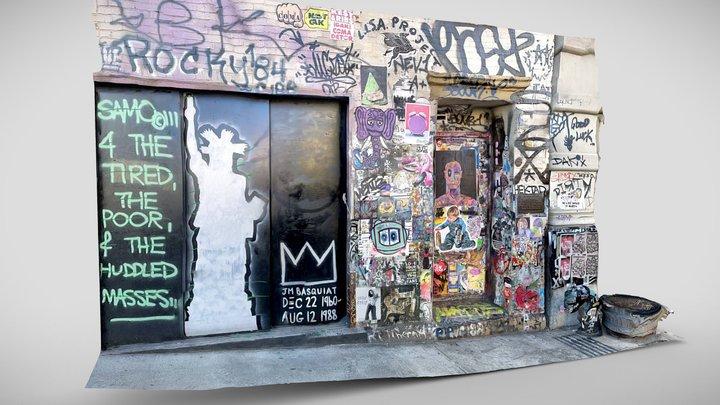 Basquiat Graffiti Art Wall 3D Model