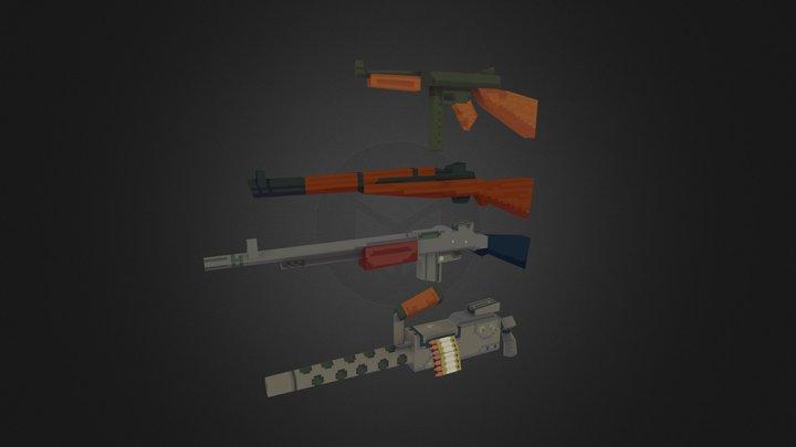 Low Poly WW2 US Guns 3D Model