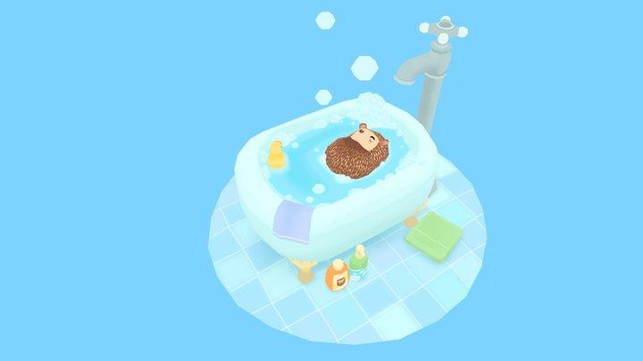 Hedgehog bath time! 3D Model
