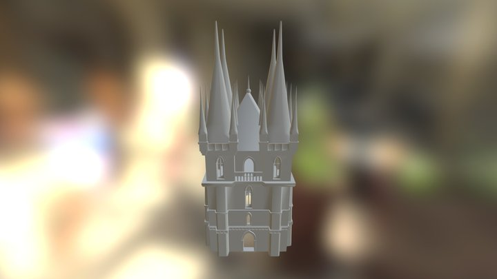 Gothic Tall  Building High Poly 3D Model
