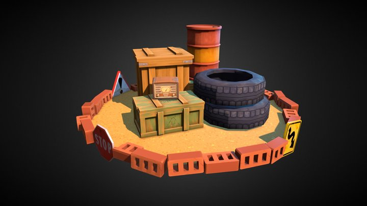 Lowpoly Wasteland Props 3D Model