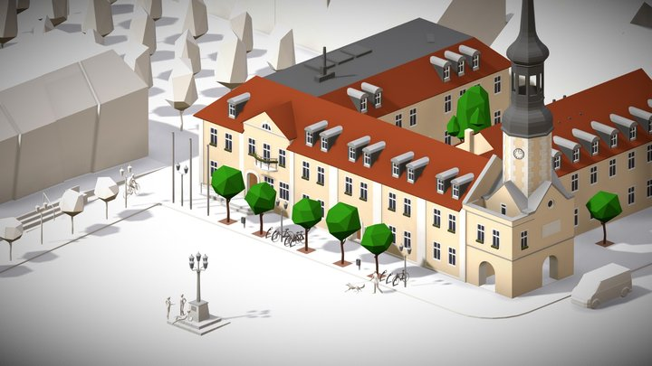 townhall of Spremberg - lowpoly 3D Model