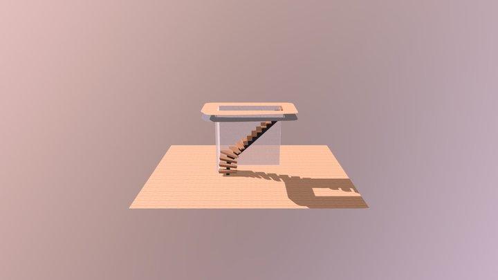 Trappa med mittbalk 3D Model