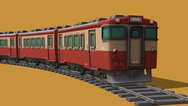 Cartoon Commuter Train 3D Model