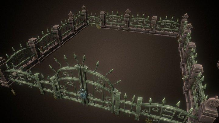 Cemetery Fence Set 3D Model