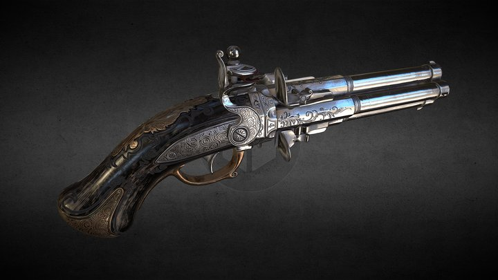 "Flintlock pistol ""Night Quartet"" 3D Model"