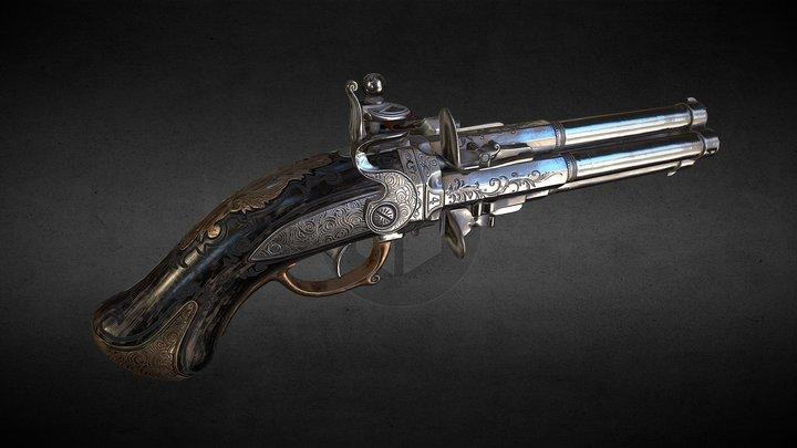 """Flintlock pistol """"Night Quartet"""" 3D Model"""