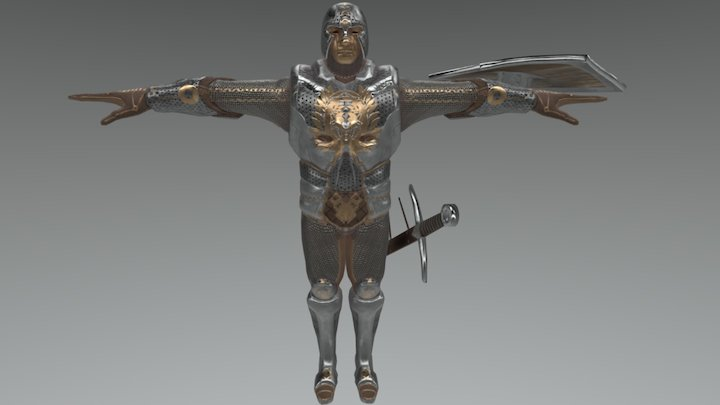 Castle Guard Tpose with bones 3D Model