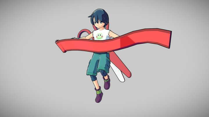 Rigged Anime Kid - Downloadable 3D Model