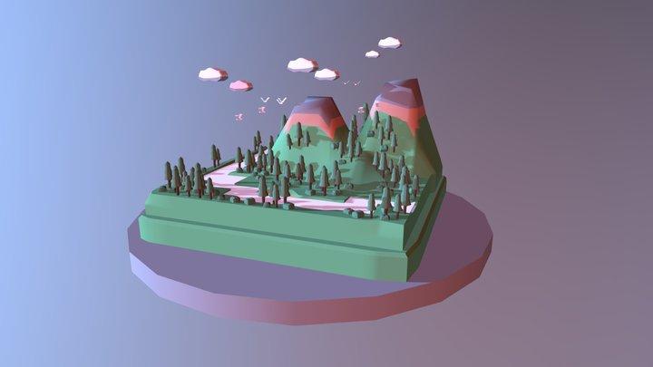 Mini low-poly landscape. 3D Model