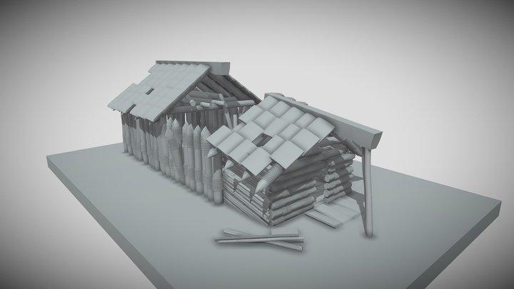 разрушенная хижина 3D Model