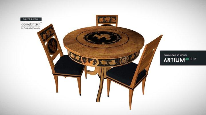 Biedermeier salon table + chairs - Georg Britsch 3D Model