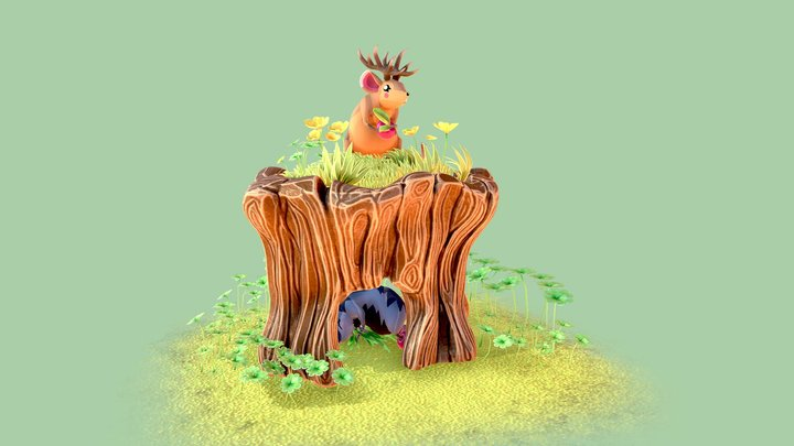 Cute forest scene with mice 3D Model