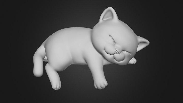 Cute Sleepy Kitten 3D Model