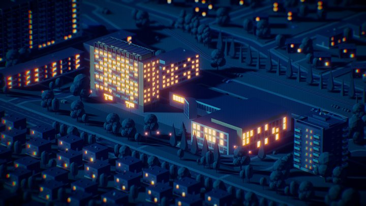 My Hometown Zlín (night) 3D Model