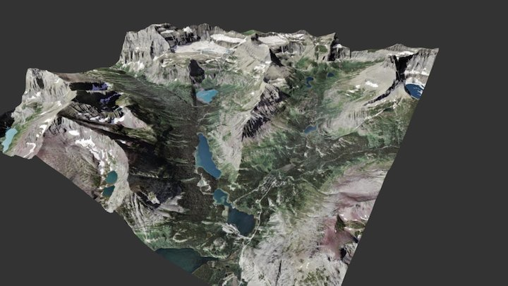 Grinnell Glacier area, Glacier National Park 3D Model