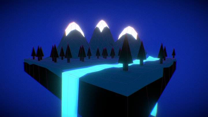 Mountain Landscape [80s Retro Style] 3D Model