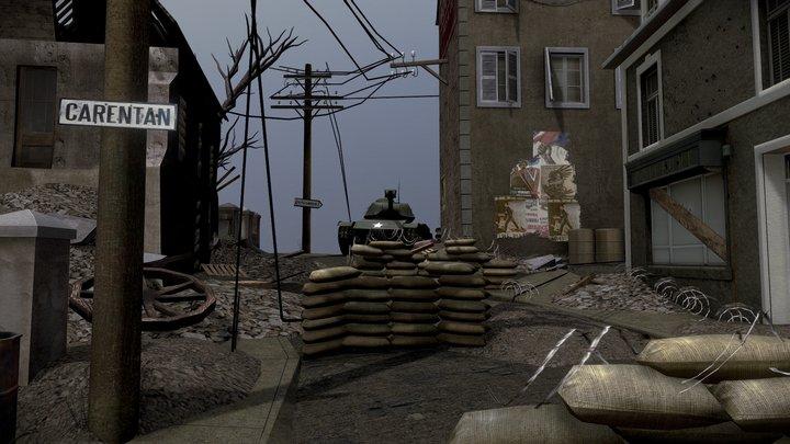 Carentan World War 2 Scene 3D Model