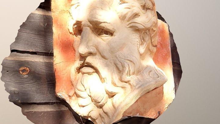 Man's head in relief at the Brucebo Strandatiljé 3D Model