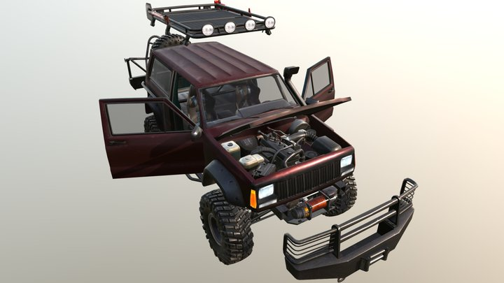 Real Car 8 Separated Parts 3D Model
