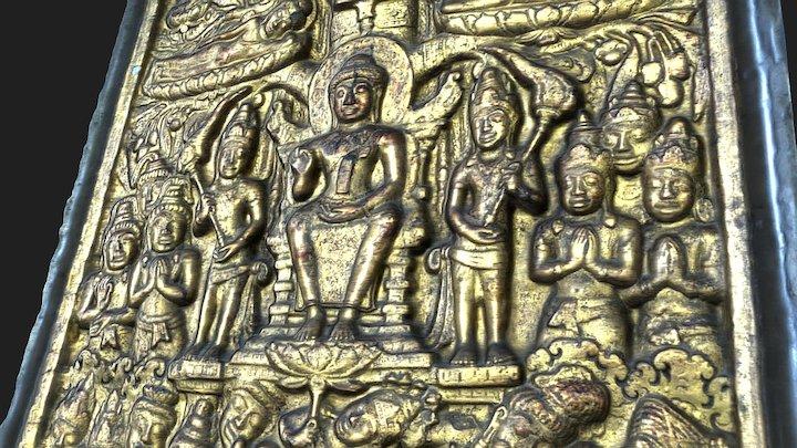 Yamaka pātihāriya - Dvaravati Bas-Relief 3D Model