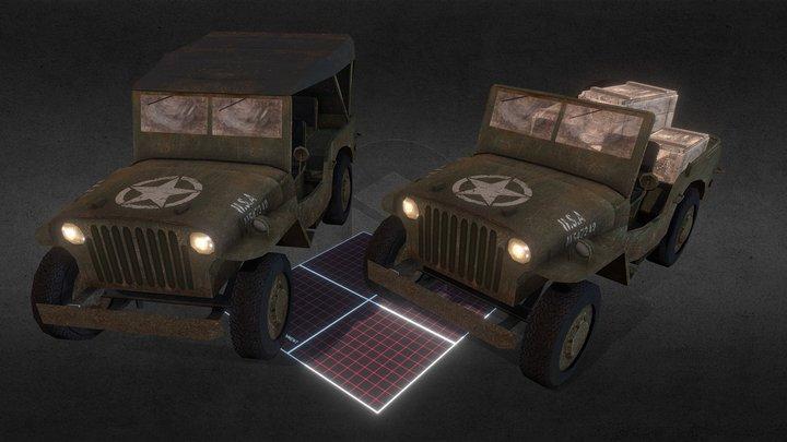 Low Poly Military Jeep - Willys MB - WW2 Scene 3D Model