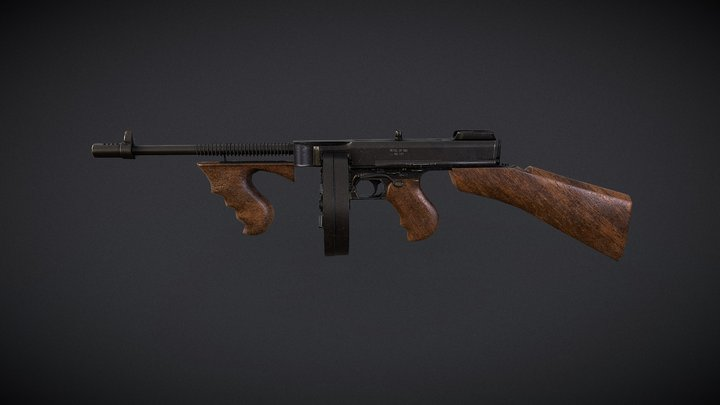 Gangster Tommy Gun 3D Model