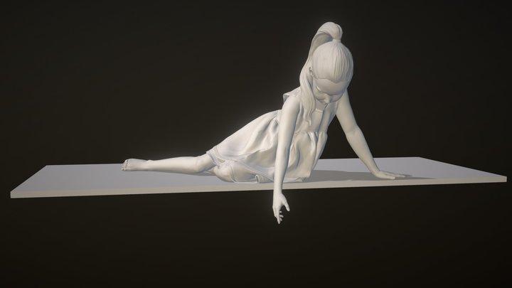 Girl near the fountain 3D Model