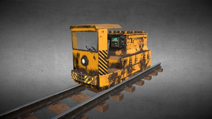 "Mining Locomotive type ""A"". Shabby textured. 3D Model"