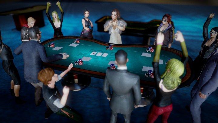 Meja Poker Fbx 3D Model