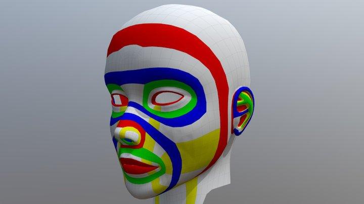 Human Head Topology (Female) 3D Model
