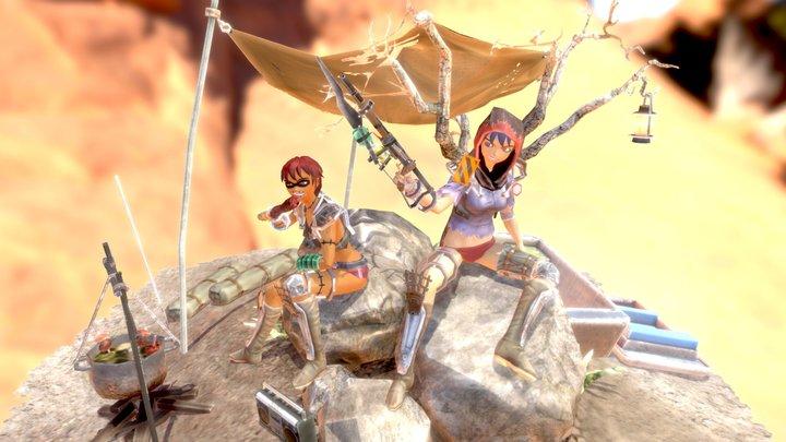 Female Hyahhars diorama02 3D Model