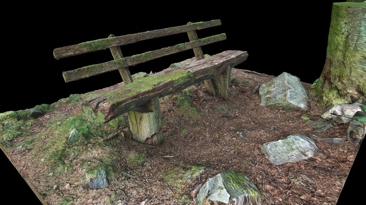 mossy wooden bench 3D Model