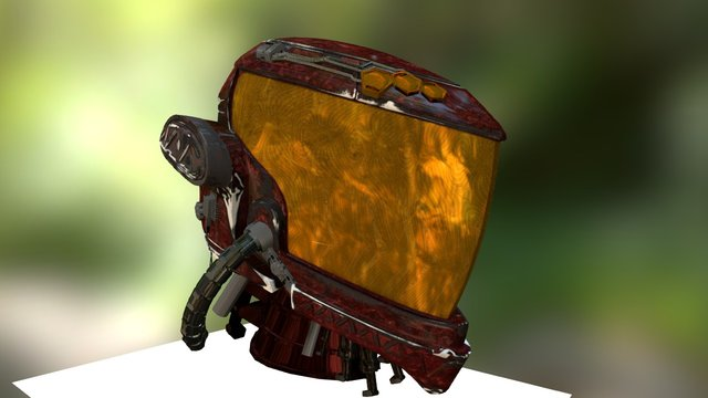 Mech Warrior Helmet_Head 3D Model