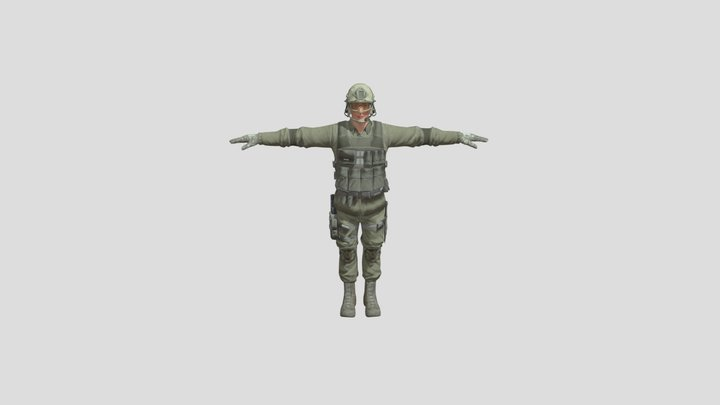 T-Pose Male Green Swat 3D Model