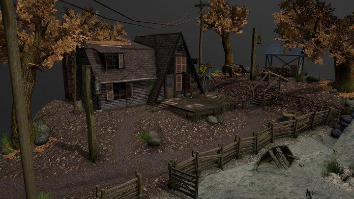 Autumn forest wooden house 3D Model