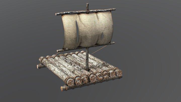 Wooden Life Raft 3D Model