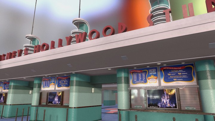Walt Disney Worlds Hollywood Studios Entrance 3D Model