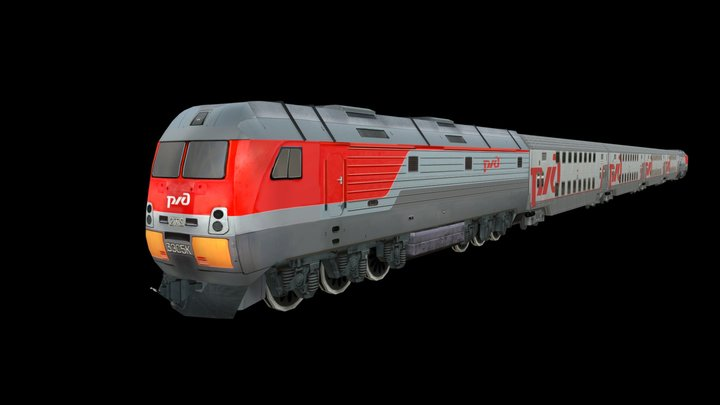 Locomotive 2TE25A_61-4473(6Cars) 3D Model