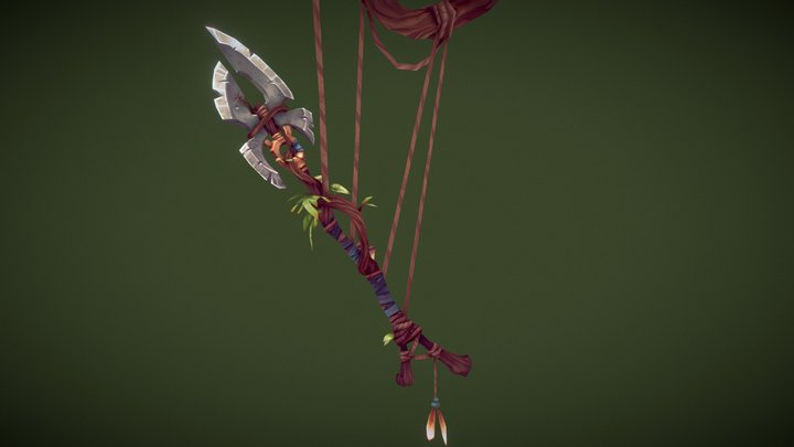 WeaponCraft - WoW Inspired Handpainted Spear 3D Model